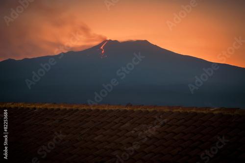 etna volcano erupting at sunset
