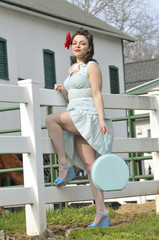 pin up girl in the country side