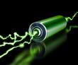 Leinwanddruck Bild - Green energy power supply battery sparks