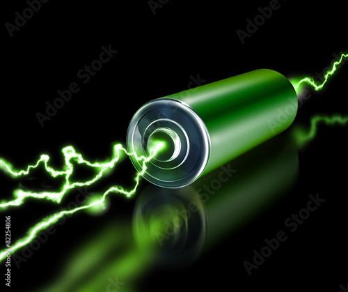 Leinwanddruck Bild Green energy power supply battery sparks