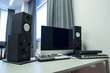 Close up view of equipment in recording studiio