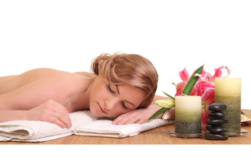 young girl lying in a spa