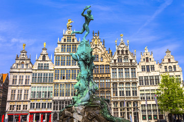 beautiful square in Antwerpen old town. Belgium