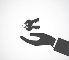 hand with keys black icon