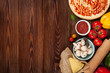 Leinwandbild Motiv Pizza cooking ingredients