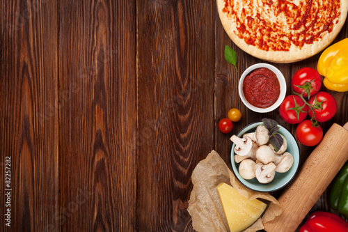 Tuinposter Koken Pizza cooking ingredients