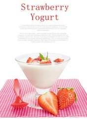 Strawberry yogurt dessert on a white background with copy space