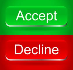 Stylish, modern accept, decline buttons