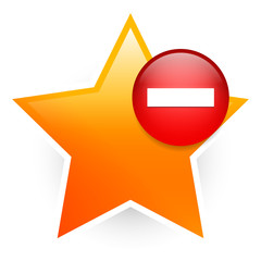 Favorite icon with minus. Remove from favorites, vote down.
