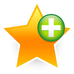 Favorite icon with green cross. Add to favorites.
