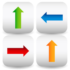 Set of Rounded square icons with colorful arrows in up, down, le