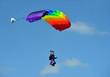 Leinwandbild Motiv Tandem parachute against blue sky