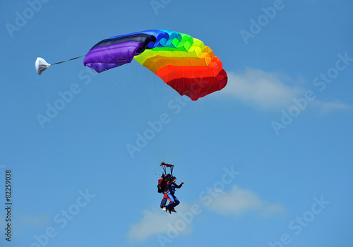 Tandem parachute against blue sky