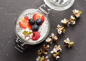 Chia pudding dessert with berries