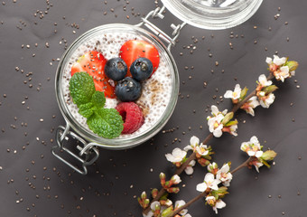 Chia pudding with coconut milk and fresh berries. top view