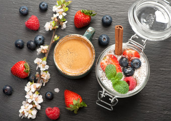 Chia puding with berries and coffee Espresso