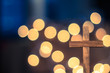 Wooden Cross and Defocused Lights