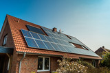 Solar panel on a red roof - 82260045