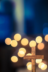 Wooden Cross and Defocused Lights