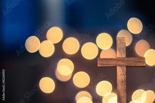Wooden Cross and Defocused Lights Poster
