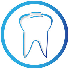 symbol of a tooth in a white circle