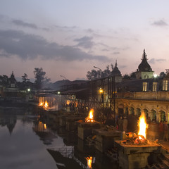 Pashupatinath temple complex on Bagmati River in the evening. Fu