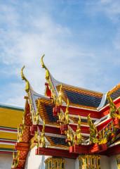 Tiles temple roof of Wat Pho, Bangkok. Wat Pho is one of the mos