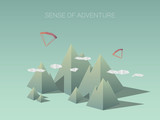 Low poly mountain landscapes. Modern geometric polygonal shapes