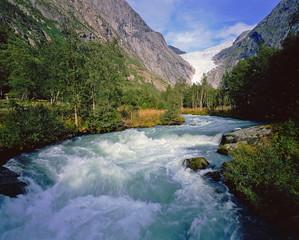 Waterfall near Briksdal glacier, Norway