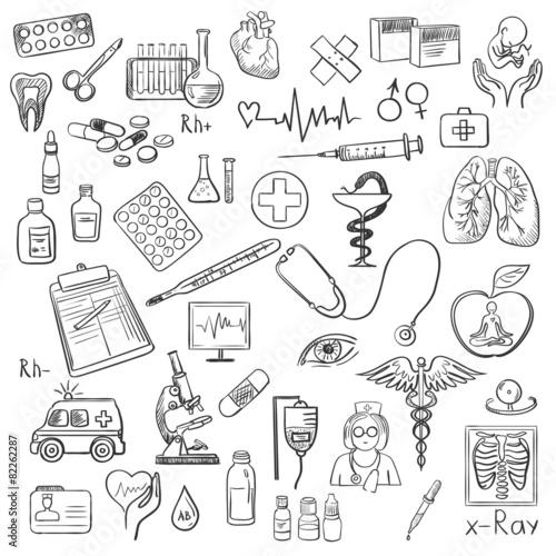 Health care and medicine doodle - 82262287
