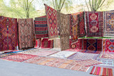 Handmade carpets in the market