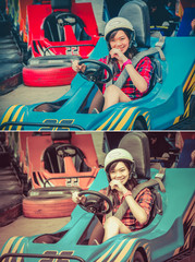 Cute Thai girl is driving Go-kart from the starting point in vin