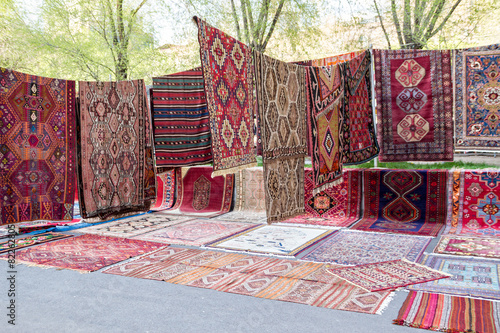 Handmade carpets in the market