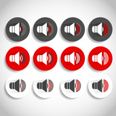 Speaker icon for volume, loudness or alarm concepts. Vector illu