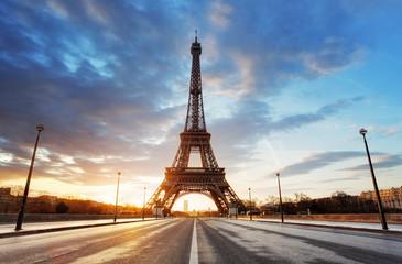 Paris, Eiffel tower at sunrise.