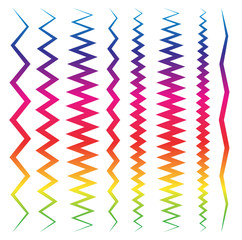 Colorful line elements with distortions. Pointed, angular.