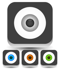 Eye, eyeball graphics in different colors. Gray, green, brown an
