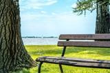 Park bench besides Palic lake in Serbia