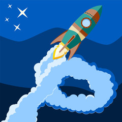Space rocket launch. Start up concept flat style. Vector illustr