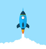 Fototapety Flat icon of rocket with long shadow style, startup concept