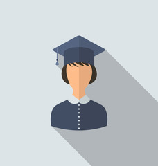 Flat icon of female graduate in graduation hat, simple style wit