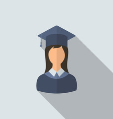 Flat icon of female graduate in graduation hat, minimal style wi