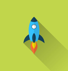Flat icon of rocket with long shadow style