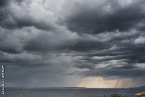 Foto op Canvas Onweer Dramatic Storm Clouds Rain