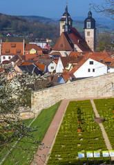 Schmalkalden, Schlossterassen, Blick auf Stadtkirche St. Georg