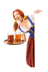 Happy Woman in Traditional Costume with Beer Holding a Sign