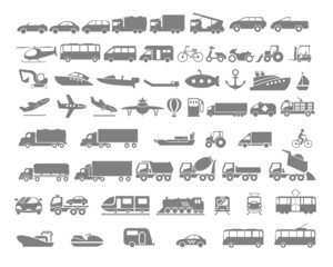 Vehicle and Transportation flat icon set