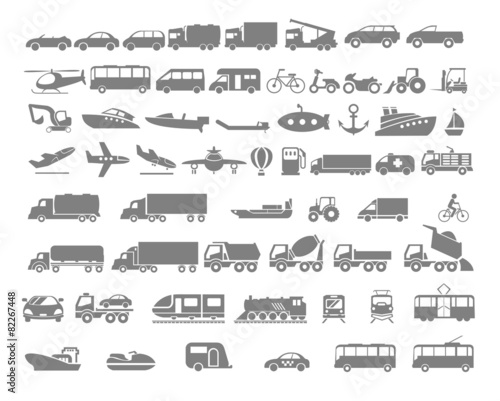 Vehicle and Transportation flat icon set - 82267448