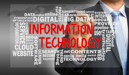information technology with related word cloud handwritten by bu