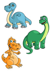 Cute cartoon green, blue and orange dinosaur mascots